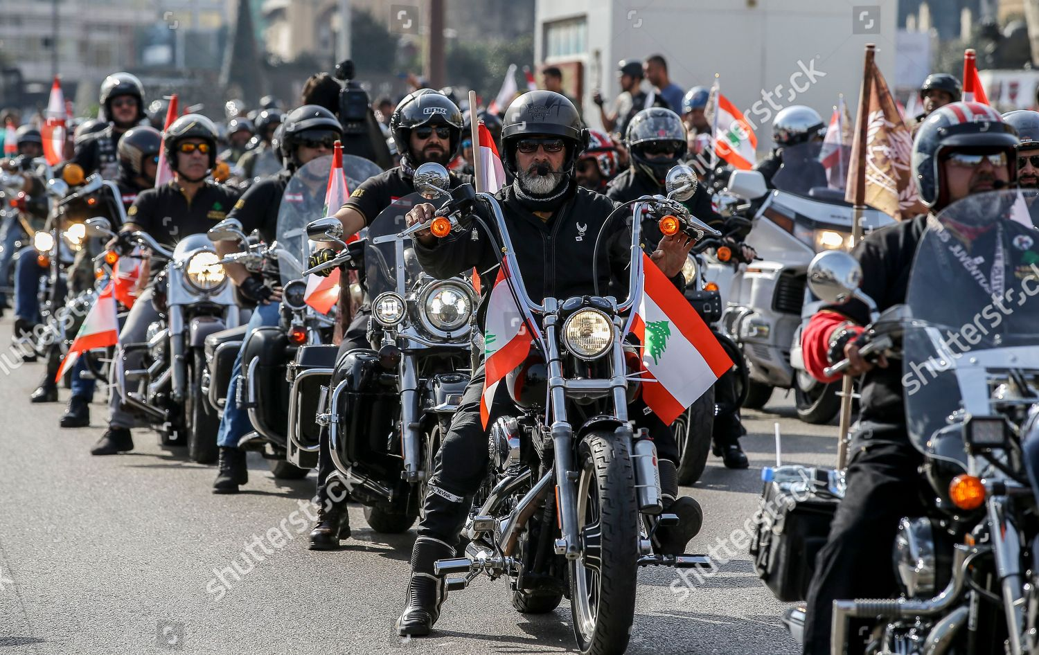 harley davidson bikers lebanese flags participate rally editorial