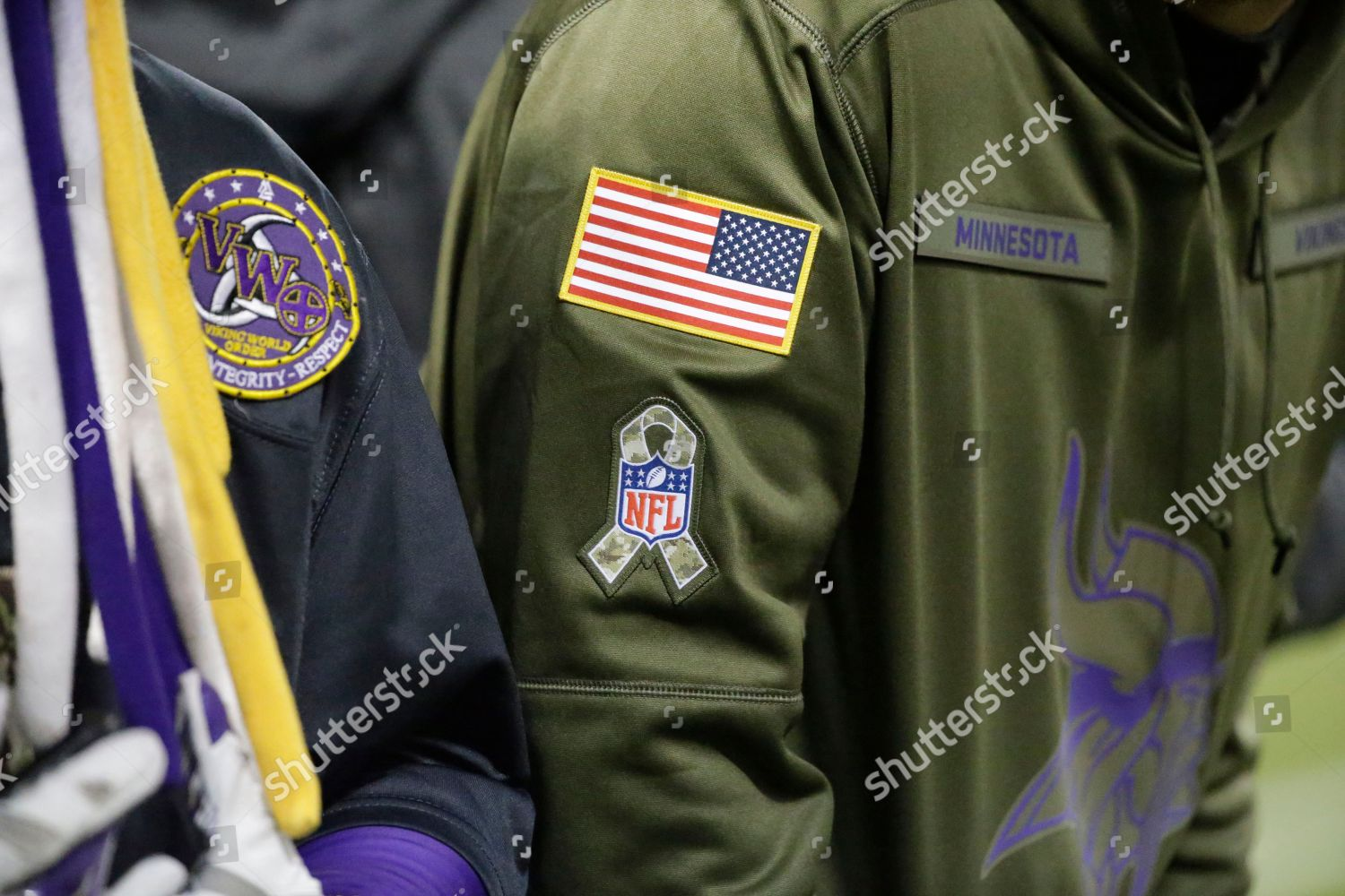 new product 363fa 8269d fan wears jacket patch NFLs Salute Service Editorial Stock ...