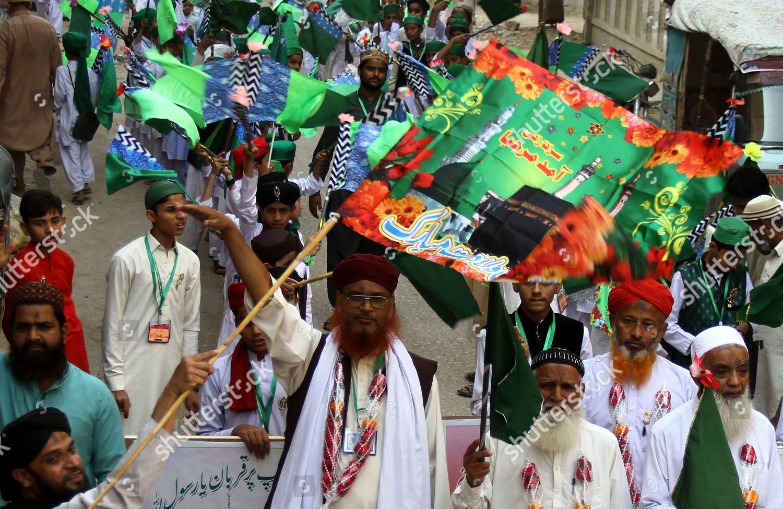 Pakistani Muslim rally during EidMiladulNabi birthday