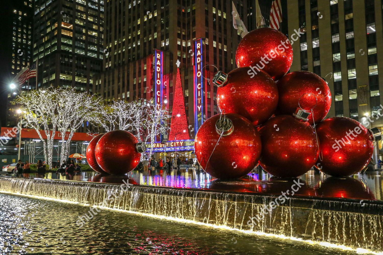 Christmas Decoration Seen Radio City Hall Editorial Stock
