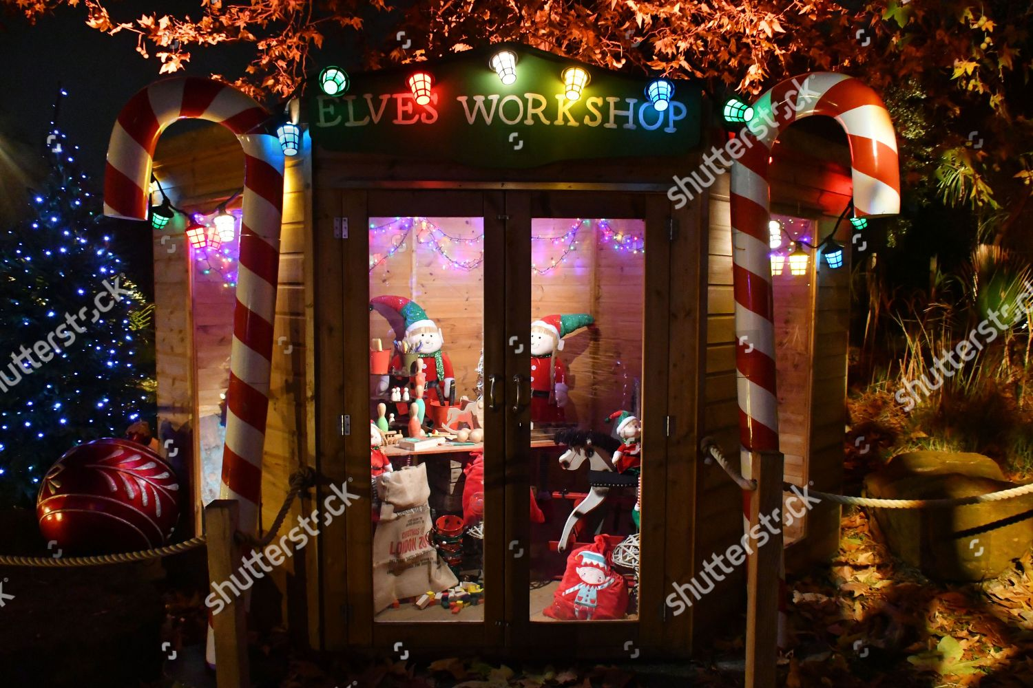 London Zoo At Christmas.Zsl London Zoo Festive Christmas Light Trail Editorial Stock