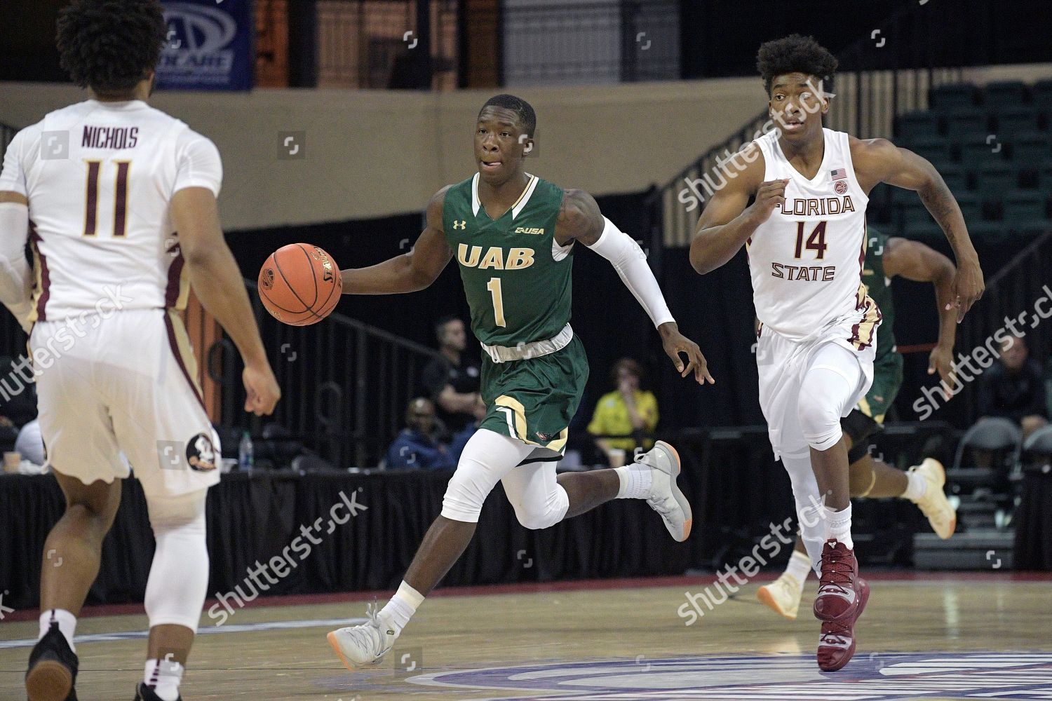 low priced a6ad2 8e817 UAB guard Zack Bryant 1 pushes ball Editorial Stock Photo ...