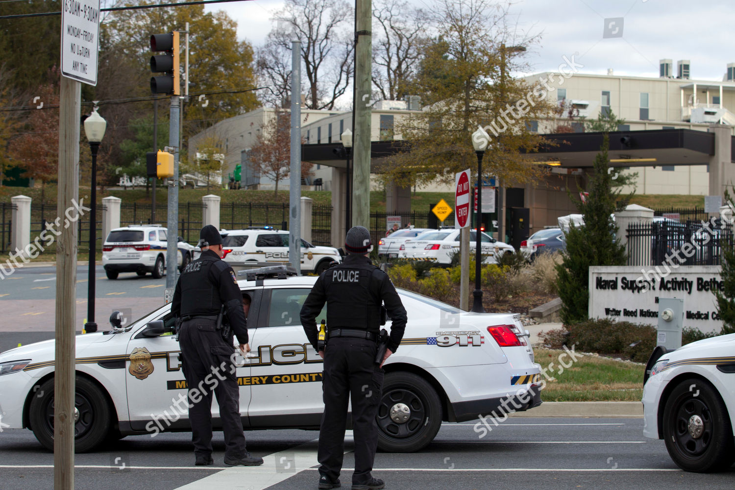 Montgomery police block entrance Walter Reed National