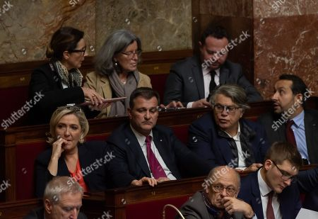 Marine Le Pen, Michel Aliot, Gilbert Collard and Sebastien Chenu during the weekly session of questions to the government at the National Assembly