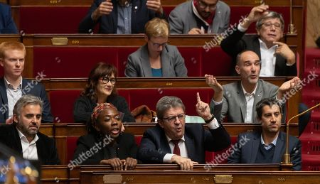 Adrien Quatennens, Alexis Corbiere, Daniele Obono, Jean-Luc Melenchon and Francois Ruffin during the weekly session of questions to the government at the National Assembly