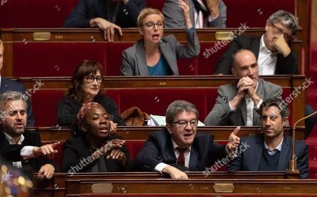 Alexis Corbiere, Daniele Obono, Jean-Luc Melenchon and Francois Ruffin during the weekly session of questions to the government at the National Assembly