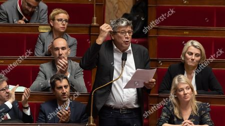 Stock Image of Jean-Luc Melencon, Francois Ruffin and Eric Coquerel during the weekly session of questions to the government at the National Assembly