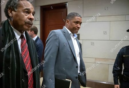 Cedric L. Richmond, Emanuel Cleaver II. Rep. Cedric Richmond, D-La., center, chairman of the Congressional Black Caucus, joined at left by Rep. Emanuel Cleaver II, D-Mo., arrives for the House Democratic Caucus leadership elections at the Capitol in Washington