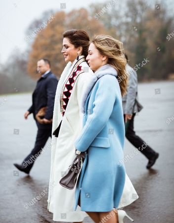 Queen Rania along with their eldest daughter HRH Princess Iman bint Abdullah II at the Royal Military Academy Sandhurst