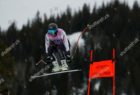 Stock Picture of United States' Nicholas Krause skis down the course during a Men's World Cup downhill skiing training run, in Beaver Creek, Colo