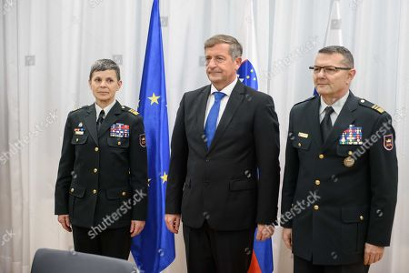 Slovenian Defence Minister Karl Erjavec (C) attends a handover ceremony with Major General Alenka Ermenc (R) and Major General Alan Geder (L), as she takes over the duties of the Chief of the General Staff of the Slovenian Armed Forces, in Ljubljana, Slovenia, 28 November 2018. Alenka Ermenc was appointed as the first female Armed Forces chief in a NATO country.