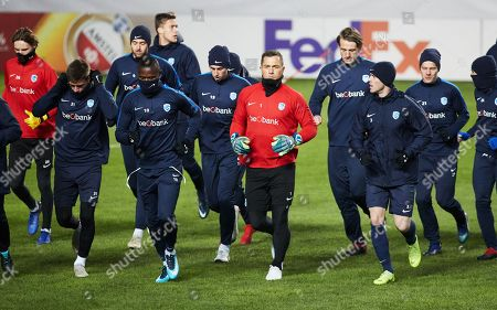 (L-R) Genk's players Joakim Maehle, Mbwana Samatta, Danny Vukovic and Bojan Nastic during a training session at Malmo Stadion in Malmo, Sweden, 28 November 2018. Genk will play Malmo FF in their UEFA Europa League group I soccer match on November 29 2018.