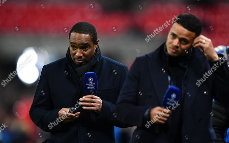 Paul Ince opts for a non-smartphone behind Jermaine Jenas, both on duty for BT Sport