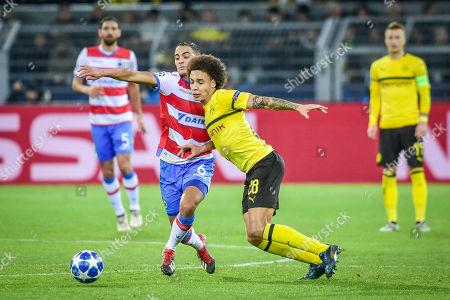 Football : Germany - Champions League 2018/2019 Borussia Dortmund  Vs FC Brügge  28.11.2018-  Sofyan Amrabat (FC Brügge), Axel Witsel  (Borussia Dortmund) im Zweikampf    -