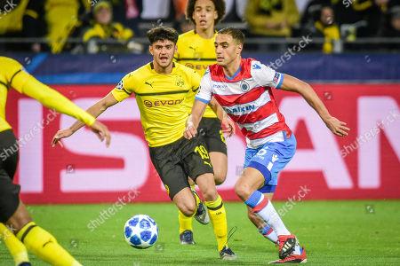 Football : Germany - Champions League 2018/2019 Borussia Dortmund  Vs FC Brügge  28.11.2018-  Sofyan Amrabat (FC Brügge), Mahmoud Dahoud ( Borussia Dortmund) im Zweikampf    -