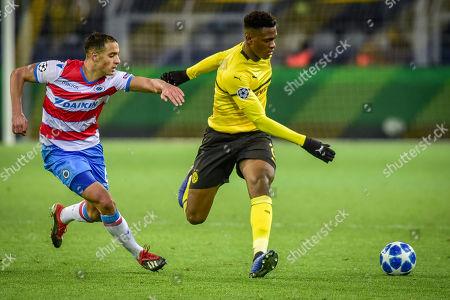 Football : Germany - Champions League 2018/2019 Borussia Dortmund  Vs FC Brügge  28.11.2018- Dan-Axel Zagadou  (Borussia Dortmund) , Sofyan Amrabat (FC Brügge)