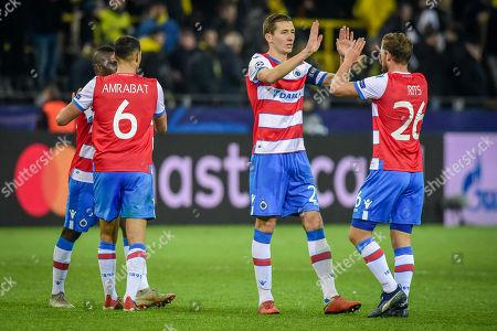 Football : Germany - Champions League 2018/2019 Borussia Dortmund  Vs FC Brügge  28.11.2018- Sofyan Amrabat (FC Brügge), Hans Vanaken (FC Brügge), Mats Rits (FC Brügge)