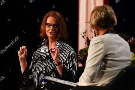 Former Australian Prime Minister Julia Gillard (L) and and Senator Kristina Keneally (R) speaks during an event at the Pyrmont Theatre ICC in Sydney, Australia, 28 November 2018 (issued 29 November 2018).