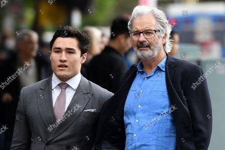 Australian actor, producer and film director John Jarratt (R) arrives at the Downing Centre Local Court in Sydney, Australia, 29 November 2018. The actor is accused of a sexual assault in 1976.