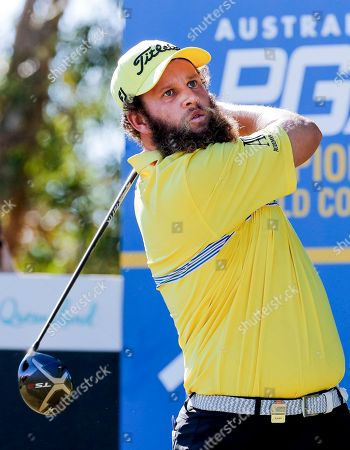 Andrew Johnston drives during play at the Pro-Am of the Australian PGA Championships at the Royal Pines Resort on the Gold Coast, Australia, 29 November 2018.