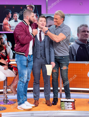 Stock Photo of Dolph Lundgren and Florian Munteanu with Ben Shephard