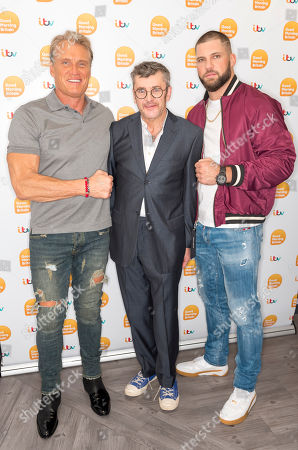 Dolph Lundgren and Florian Munteanu with Joe Pasquale
