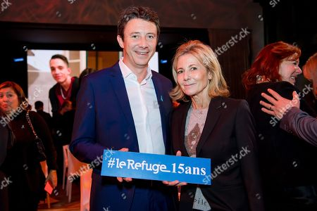 Stock Photo of Benjamin Griveaux and Claire Chazal.