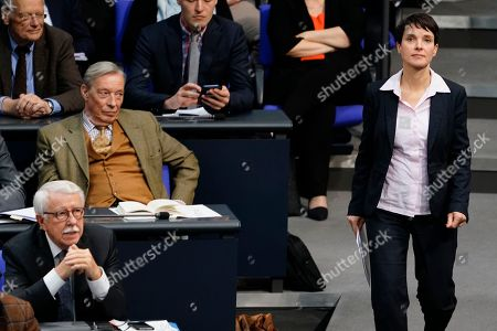 Former Alternative fuer Deutschland (AfD) party member Frauke Petry (R) walks to the speakers desk passing the AfD faction with Armin Paul Hampel (3-L) during the debate on the UN Global Compact for Safe, Orderly and Regular Migration at the German parliament Bundestag in Berlin, Germany, 29 November 2018.