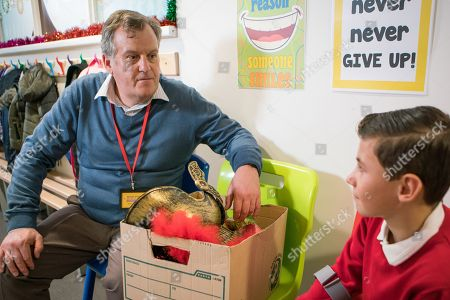Stock Image of Ep 9641 Monday 17th December 2018 - 2nd Ep In way of an apology, Brian Packham, as played by Peter Gunn, offers to help Jack Webster, as played by Kyran Bowes, remember his lines.