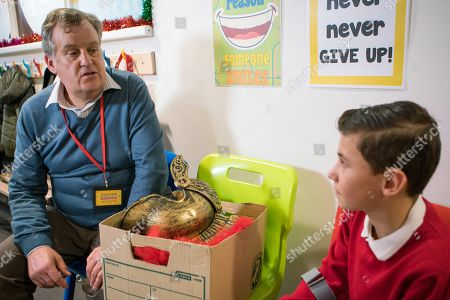 Ep 9641 Monday 17th December 2018 - 2nd Ep In way of an apology, Brian Packham, as played by Peter Gunn, offers to help Jack Webster, as played by Kyran Bowes, remember his lines.