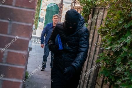 Ep 9636 Wednesday 12th December 2018 - 1st Ep Chesney Brown, as played by Sam Aston, collects the shop takings from Dev and out on the street Kirk Sutherland, as played by Andy Whyment, snatches the bag from him. Dev gives chase as Kirk sprints away.