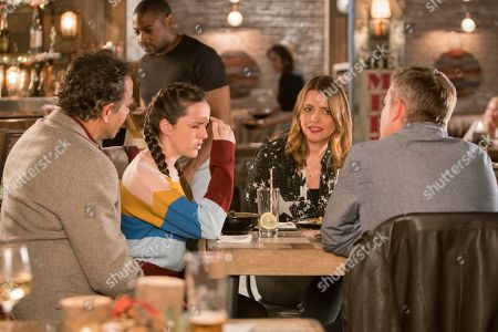Ep 9631 Wednesday 5th December 2018 - 2nd Ep Steve McDonald, as played by Simon Gregson, and Tracy McDonald, as played by Kate Ford, take Amy Barlow, as played by Elle Mulvaney, for dinner at the Bistro however their plan goes awry when Dev Alahan, as played by Jimmi Harkishin, explains Aadi point blank refuses to go on a date with Amy.