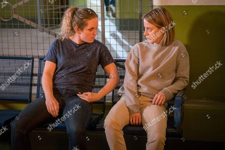 Stock Photo of Ep 9645 Friday 21st December 2018 - 2nd Ep When prison dealer Marcia, as played by Victoria Moseley, offers a downcast Abi Franklin, as played by Sally Carman, some drugs to lift her mood, an eavesdropping Sally Metcalfe swiftly steps in and drags Abi away.