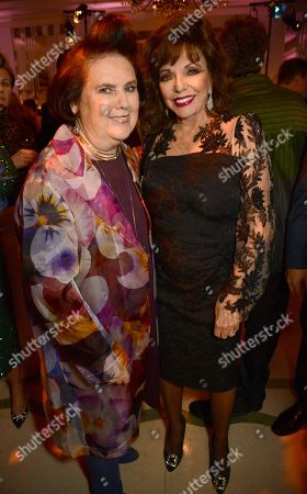 Suzy Menkes and Joan Collins
