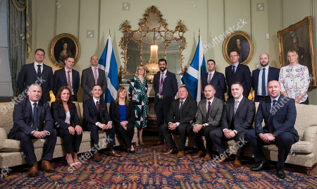 Police officers were met by Cabinet Secretary for Justice Humza Yousaf in the first minister's official residence, Bute House