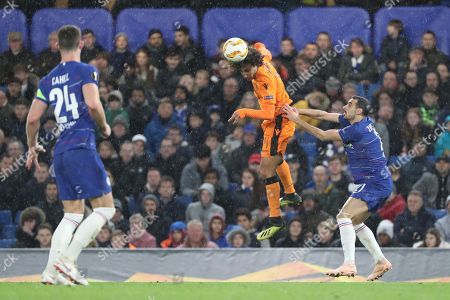 Amr Warda of PAOK FC (74) winning header during the Champions League group stage match between Chelsea and PAOK Salonica at Stamford Bridge, London