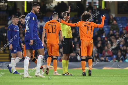 Amr Warda of PAOK FC (74) appealing to the ref during the Champions League group stage match between Chelsea and PAOK Salonica at Stamford Bridge, London