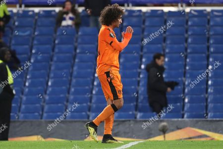 Amr Warda of PAOK FC (74) with hands together during the Champions League group stage match between Chelsea and PAOK Salonica at Stamford Bridge, London
