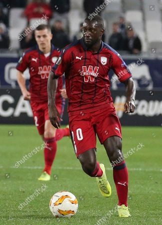 Bordeaux's Youssouf Sabaly runs during the Europa League group C soccer match between Bordeaux and Slavia Praha played in Bordeaux, southwestern France
