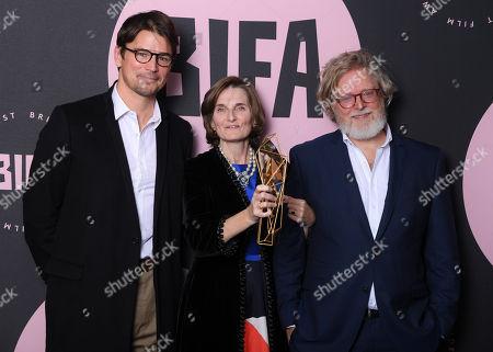 Stock Image of Deborah Davis and Tony McNamara - Best Screenplay - 'The Favourite', presented by Josh Hartnett