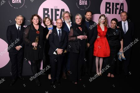 Yorgos Lanthimos, Deborah Davis, Tony McNamara, Ceci Dempsey, Ed Guiney, Lee Magiday, Emma Stone and Olivia Colman - Best British Independent Film - 'The Favourite', presented by Martin Freeman