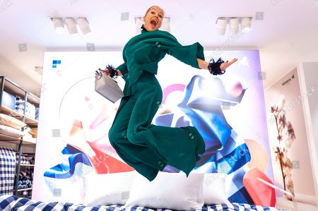 Caroline Fleming attends a bed manufacturers launch in London
