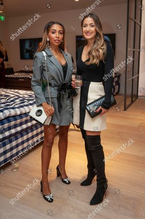 Stock Image of Aimee Rose, Aruna Seth. Socialite Aimee Rose, left, and designer Aruna Seth attend a bed manufacturers launch in London