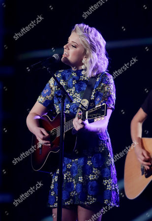 Maddie Poppe performs during the NASCAR auto racing awards ceremony, in Las Vegas