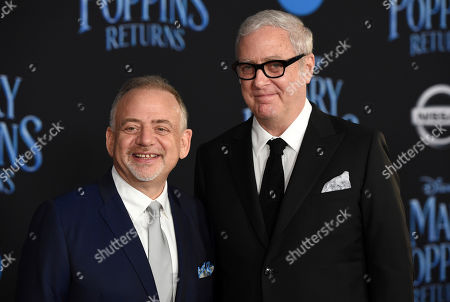 """Marc Shaiman, Scott Wittman. Marc Shaiman, left, and Scott Wittman, co-lyricists for the songs in """"Mary Poppins Returns,"""" pose together at the premiere of the film at the Dolby Theatre, in Los Angeles"""