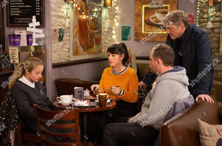 Ep 8336 Wednesday 12th December 2018 Kerry Wyatt, as played by Laura Norton, assures Amelia Spencer, as played by Amelia Flanagan, the police will find out what happened to Graham, leaving Daz Spencer, as played by Mark Jordon, silently panicked and trapped.. With Dan Spencer, as played by Liam Fox.