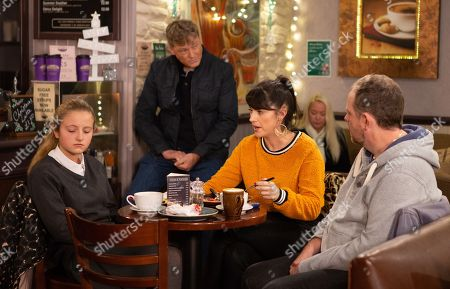 Stock Picture of Ep 8336 Wednesday 12th December 2018 Kerry Wyatt, as played by Laura Norton, assures Amelia Spencer, as played by Amelia Flanagan, the police will find out what happened to Graham, leaving Daz Spencer, as played by Mark Jordon, silently panicked and trapped.. With Dan Spencer, as played by Liam Fox.
