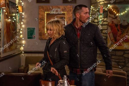 Ep 8337 Thursday 13th December 2018 - 1st Ep When Rhona Goskirk, as played by Zoe Henry, confronts Dawn having heard the truth from Pete Barton, as played by Anthony Quinlan, she shoves Rhona and mortified makes her escape.