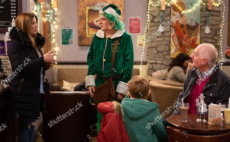 Ep 8345 Friday 21st December 2018 Struggling Bob despairs when the twins ask for expensive gifts for Christmas. Harriet Finch, as played by Katherine Dow Blyton, offers Bob Hope, as played by Tony Audenshaw, a job as a Christmas elf but he's later crushed by a further revelation. With Douglas Potts, as played by Duncan Preston.