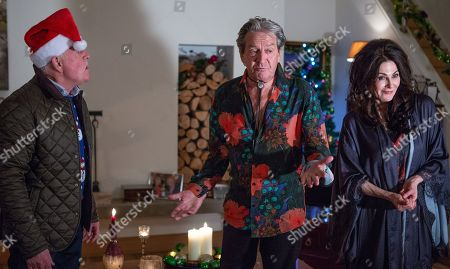 Stock Photo of Ep 8344 Thursday 20th December 2018 - 2nd Ep Faith Dingle, as played by Sally Dexter, has a plan to get Rodney Blackstock, as played by Patrick Mower, out of Pollard's house but after a few failed attempts, Faith uses her womanly charms to seduce Rodney. As Pollard, as played by Christopher Chittell, walks in on them kissing, will Faith's plan have worked?